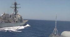Американский эсминец пошел на таран российского корабля - ВИДЕО