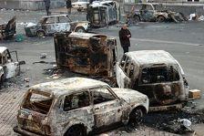 Сасунские храбрецы спалили полицейский Chevrolet